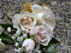 Pin Style With Blush Spray Roses & Gold Ribbon