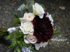 Posy Bouquet With Ivory Roses & Burgundy Dahlia