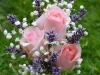 Small Posy Bouquet ~ Pink Roses With Lavender & Babys Breath