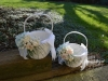 Sun Kissed Baskets With Floral Attachments ~ Spray Roses & Babys Breath