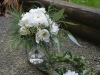 Winter Frost Posy Bouquet & Flower Crown ~ Cushion Mums With Lisianthus & Seeded Eucalyptus