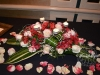 Table Centerpiece With Sweetness Roses & Tropical Leaf